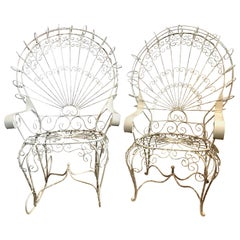 Pair of Midcentury Salterini White Wrought Iron Peacock Chair and Rocker Set