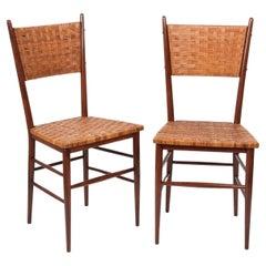 Pair of Midcentury Sanguineti Chiavari Beech Wood Italian Chairs, 1950s