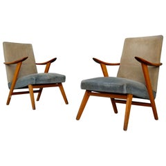 Pair of Midcentury Scandinavian Design in Cherrywood and Velvet, 1950s