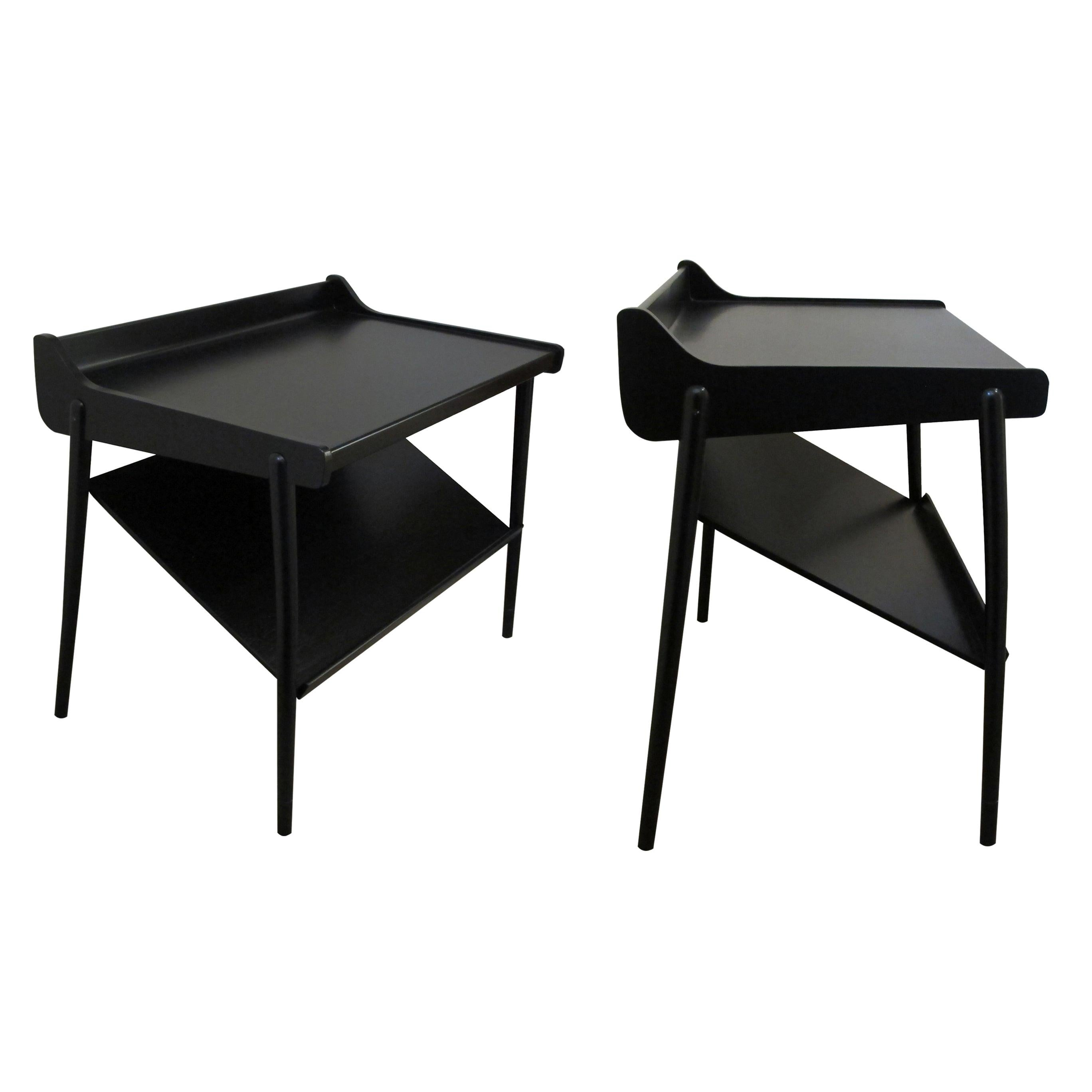 Pair of Midcentury Scandinavian Two-Tier Ebonized Bedside Tables or End Tables