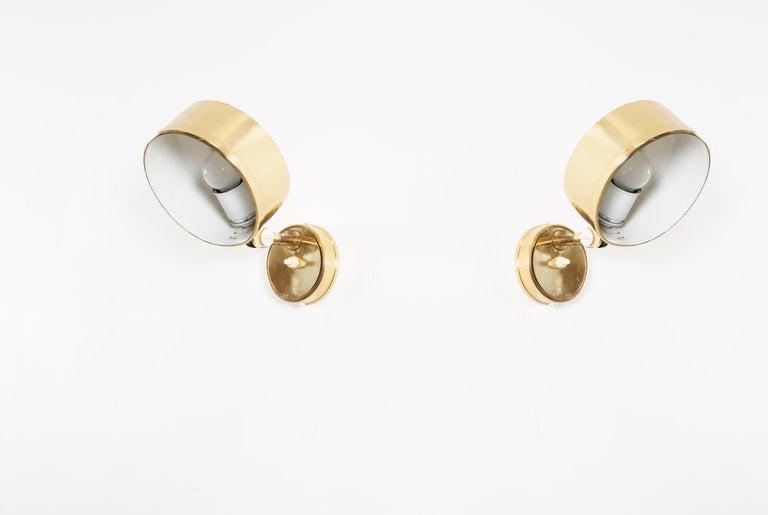 Pair of Midcentury Scandinavian Wall Lights in Brass, 1970s 2