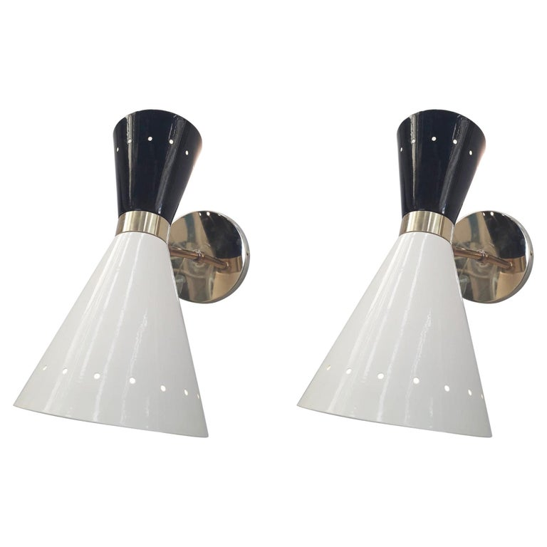 Pair of Midcentury Sconces by Fabio Ltd For Sale