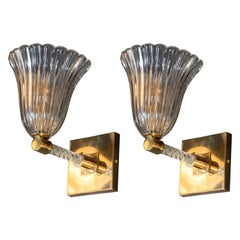 Pair of Midcentury Sconces in Brass & Handblown Murano Glass by Barovier e Toso