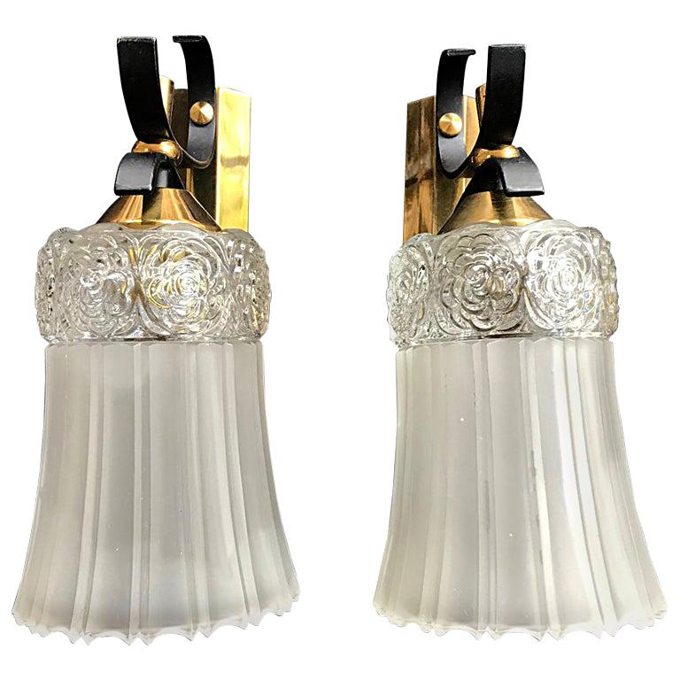 Pair of Midcentury Sconces Lunel Style, France, 1950