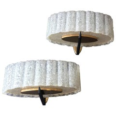 Pair of Midcentury Sconces with Brass and Black Fixings by Maison Arlus, France