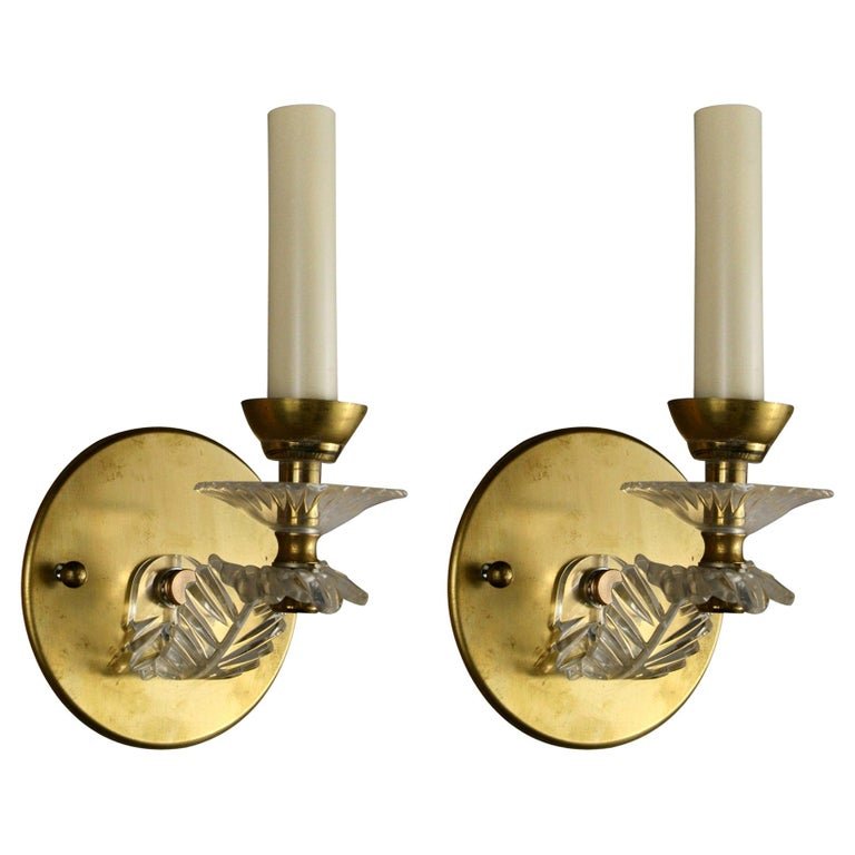Pair of French Mid Century Sconces For Sale