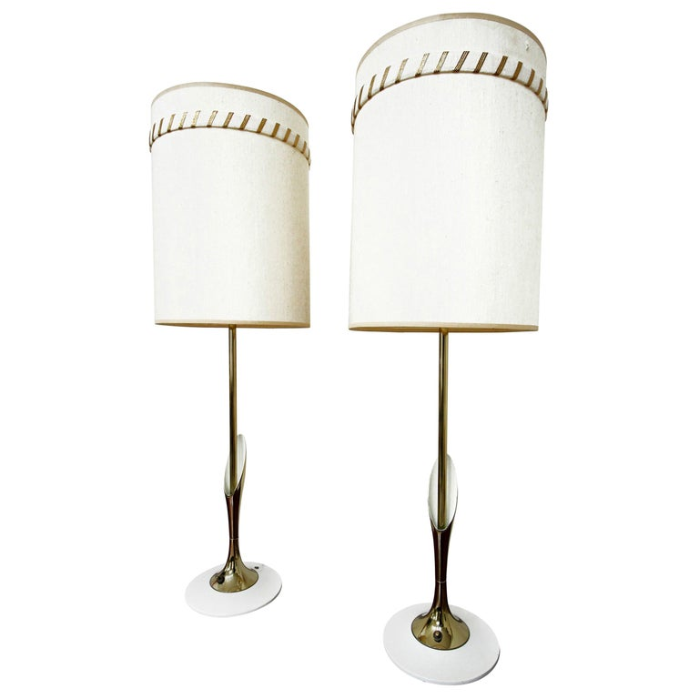Pair of Midcentury Sculptural Brass Lamps by Laurel Lamp Company For Sale
