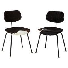 Pair of Midcentury SE-68 Chairs by Egon Eiermann in Original Cowhide