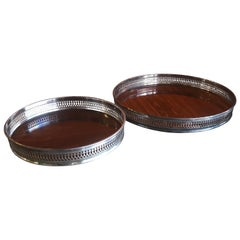 Pair of Midcentury Serving Trays by Sheffield Silver Co.