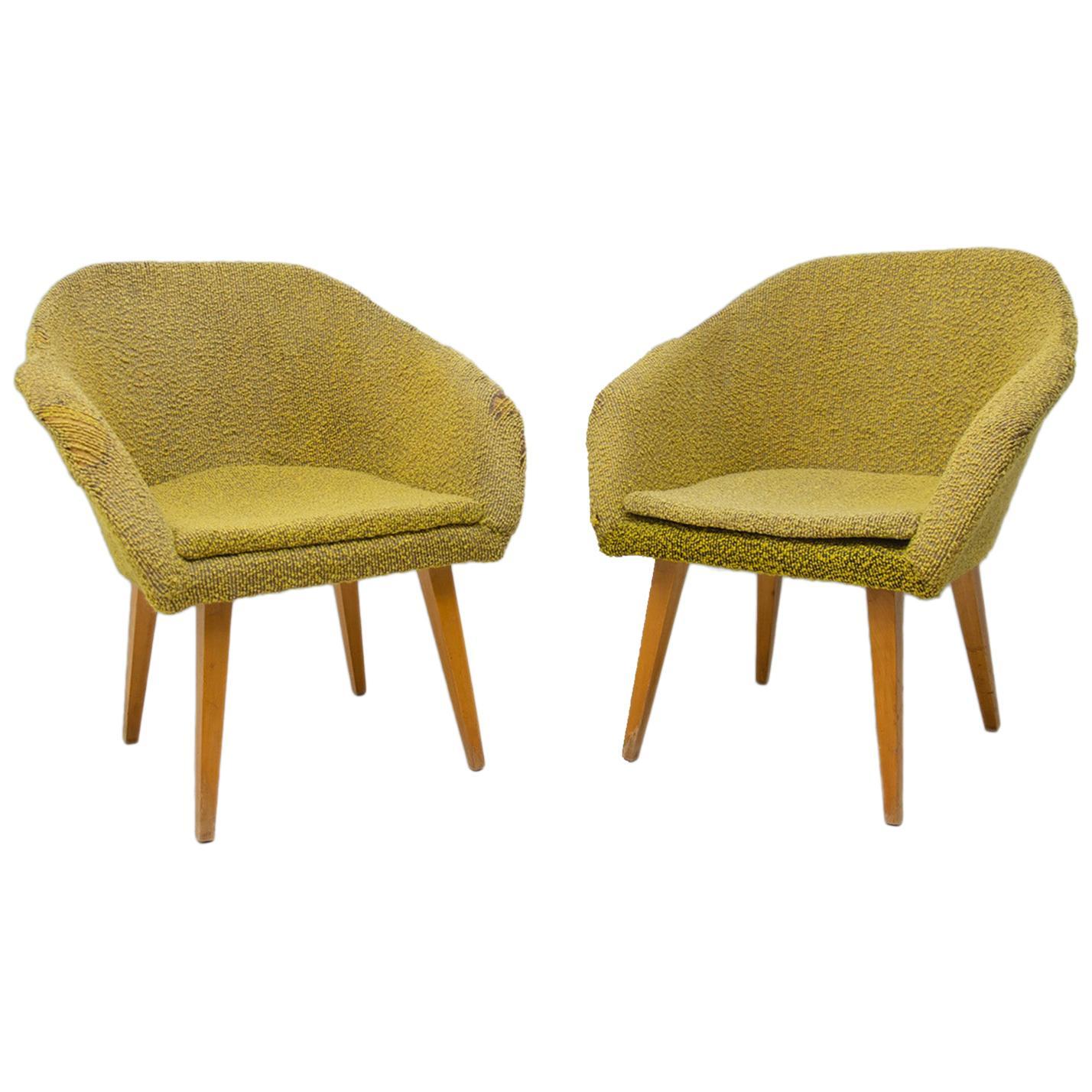 Pair of Midcentury Shell Fiberglass Lounge Chairs, Czechoslovakia, 1960s