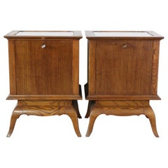 Pair of Midcentury Side Cabinets Nightstands French Bedside Tables Mirror Top