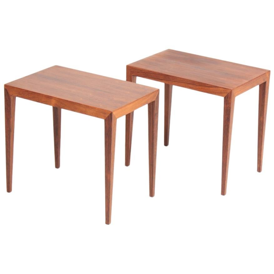 Pair of Midcentury Side Tables in Rosewood by Haslev, Danish Design, 1960s
