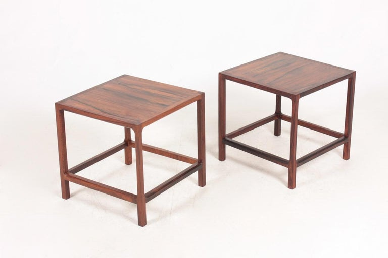 Pair of side tables rosewood. Designed by Aksel Kjærsgaard in 1960s, Denmark. Great original condition.