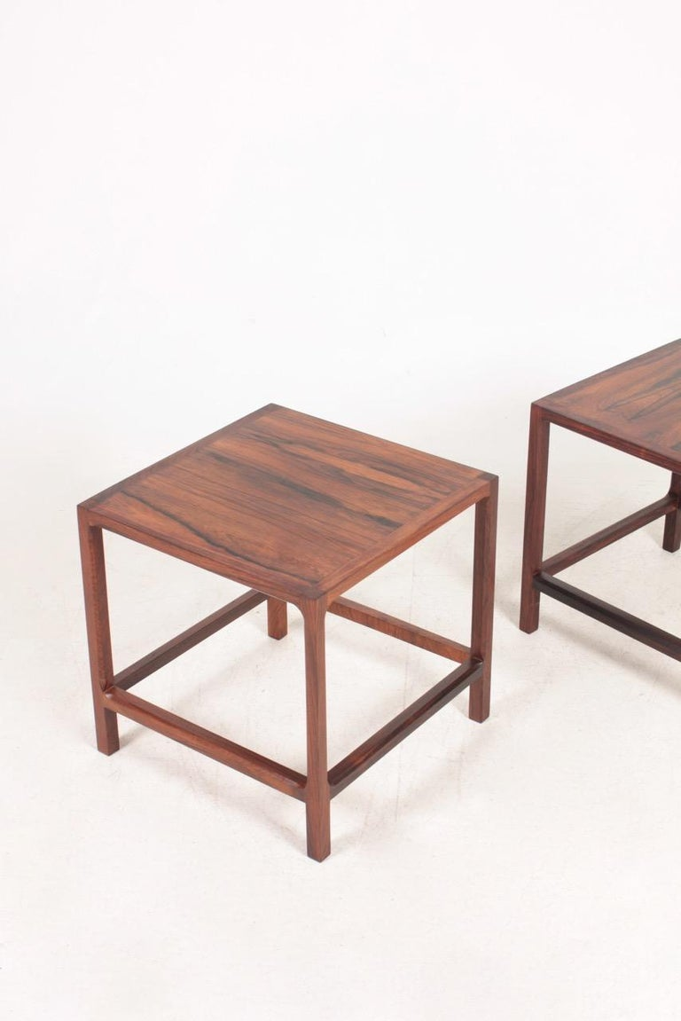 Scandinavian Modern Pair of Midcentury Side Tables in Rosewood Designed by Aksel Kjærsgaard, 1960s For Sale