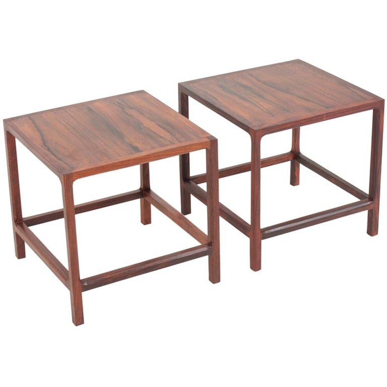 Pair of Midcentury Side Tables in Rosewood Designed by Aksel Kjærsgaard, 1960s For Sale