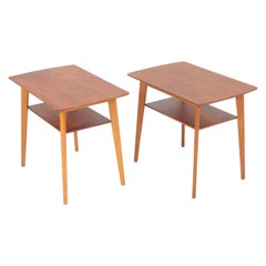 Pair of Midcentury Side Tables in Teak and Oak, Danish Design, 1960s