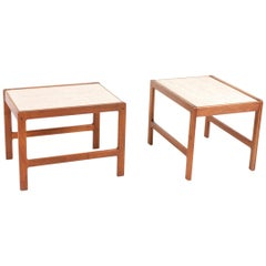 Pair of Midcentury Side Tables in Teak and Travertine by Illums Bolighus, 1960s