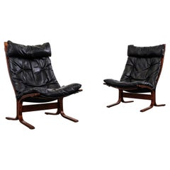 Pair of Midcentury 'Siesta' Leather Lounge Chairs by Ingmar Relling for Westnofa