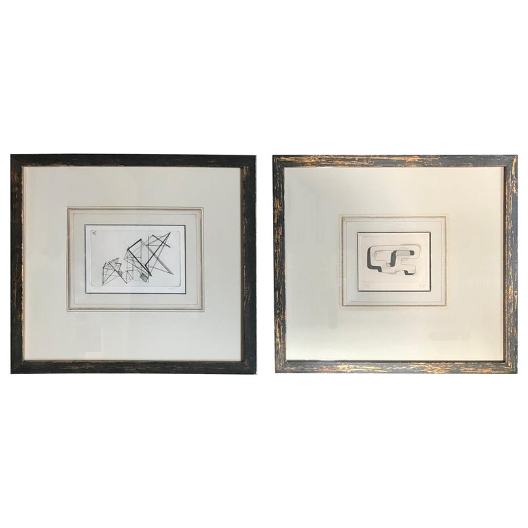 Pair of Midcentury Signed Geometric Engravings For Sale