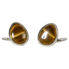 Pair of Midcentury Silver and Tigereye Cufflinks, Sweden, 1960s