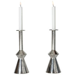 Pair of Midcentury Silver Candlesticks by Sigurd Persson