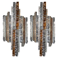 Pair of Midcentury Silvered Iron Amber and Translucent Glass Sconces by Poliarte