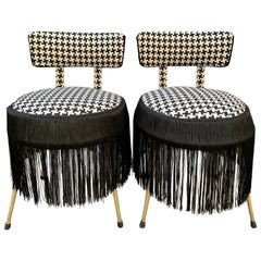 Pair of Midcentury Small Padded Chairs Houndstooth Fabric with Black Fringe