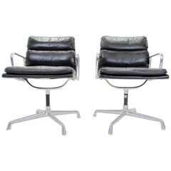 Pair of Midcentury Soft Pad Leather and Aluminum Eames Herman Miller Chairs