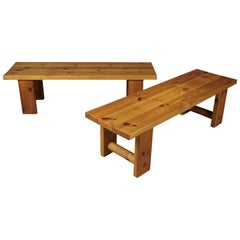 Pair of Midcentury Solid Pine Benches from Sweden, circa 1970