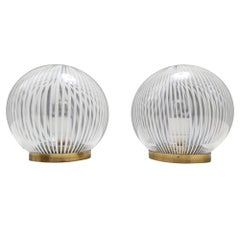 Pair of Midcentury Spheric Murano Glass Table Lamps by Venini, Italy