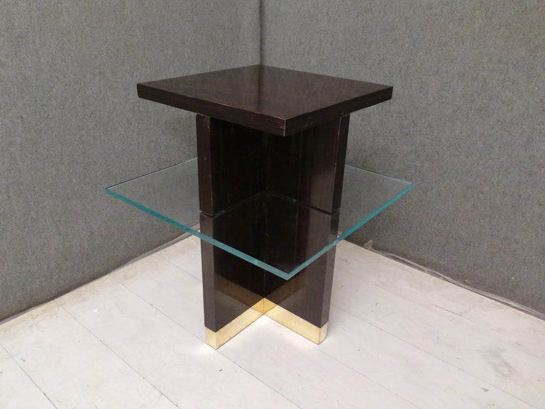 Mid-Century Modern Pair of Midcentury Square Macassar Brass and Glass Italian Side Tables, 1950 For Sale
