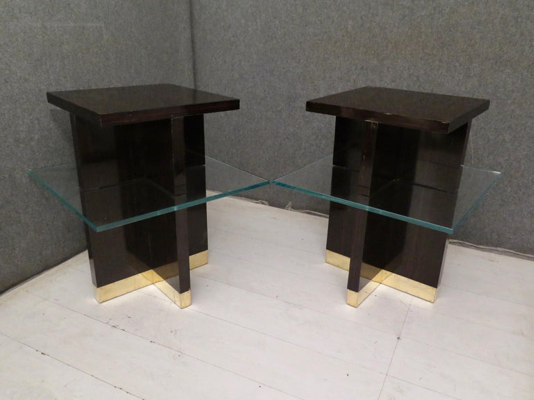 Pair of Midcentury Square Macassar Brass and Glass Italian Side Tables, 1950 In Good Condition For Sale In Rome, IT