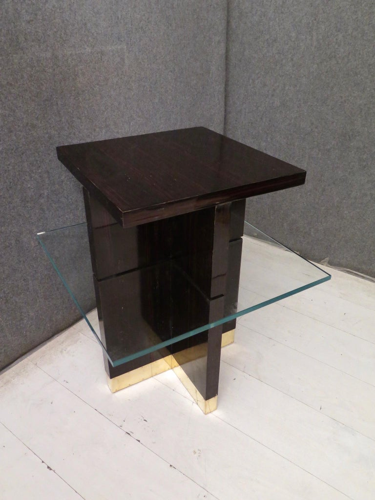 20th Century Pair of Midcentury Square Macassar Brass and Glass Italian Side Tables, 1950 For Sale