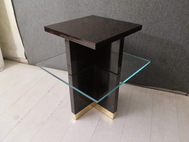 Pair of Midcentury Square Macassar Brass and Glass Italian Side Tables, 1950 For Sale 1