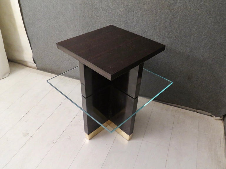 Pair of Midcentury Square Macassar Brass and Glass Italian Side Tables, 1950 For Sale 2