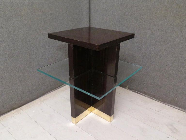 Pair of Midcentury Square Macassar Brass and Glass Italian Side Tables, 1950 For Sale 3