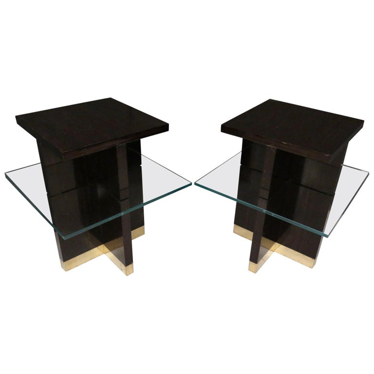 Pair of Midcentury Square Macassar Brass and Glass Italian Side Tables, 1950 For Sale