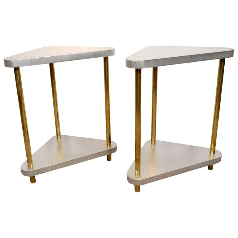 Pair of Midcentury Steel and Brass Side Tables
