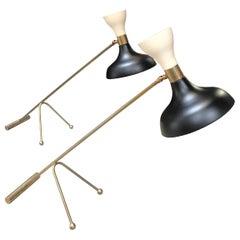 Pair of Midcentury Stilnovo Style Adjustable Black/White Table Lamps in Brass