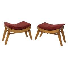 Pair of Midcentury Stools, Footrests by Krasna Jizba, 1950s, Czechoslovakia