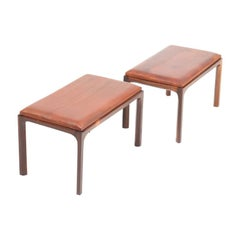 Pair of Midcentury Stools in Patinated Leather and Rosewood by Kai Kristiansen