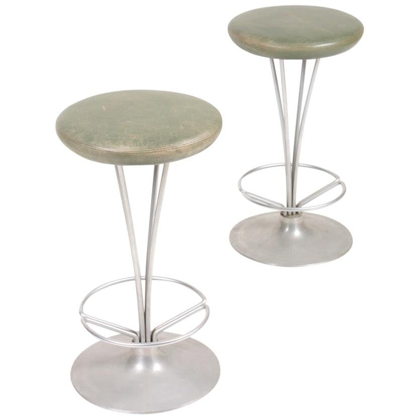 Pair of Midcentury Stools in Patinated Leather by Piet Hein, 1970s
