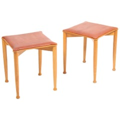 Pair of Midcentury Stools, Patinated Leather by Hvidt & Mølgaard, Danish Design