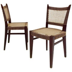Pair of Midcentury Straw and Wood Chairs, circa 1950, France