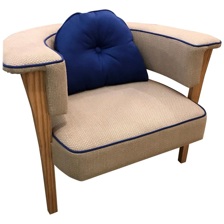 Pair of Midcentury Style Armchairs With Natural Linen and Blue Piping For Sale