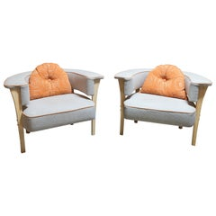 Pair of Midcentury Style Armchairs with Natural Linen and Orange Piping