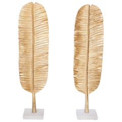 Pair of Midcentury Style British Colonial Banana Leaf Sculptures