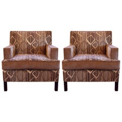 Pair of Midcentury Style Chenille Club Chairs