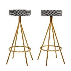 Pair of Midcentury Style Circular Italian Bar Stools Upholstered in Dedar Fabric