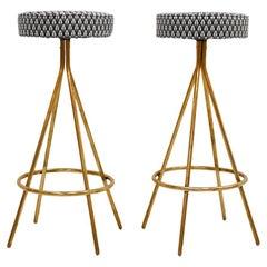 Pair of Midcentury Style Circular Italian Bar-Stools Upholstered in Dedar Fabric